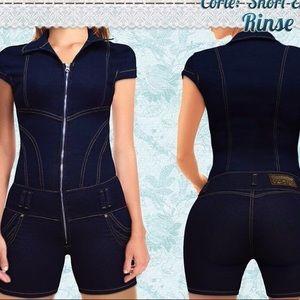 Denim - NWT short sleeve denim short jumpsuit